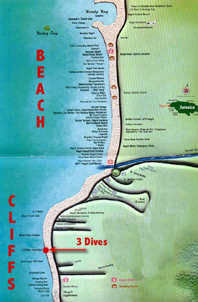 Negril beach map the best beaches in the world 3 dives restaurant map and location in negril s west end gumiabroncs Image collections